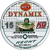 WFT Round Dynamix Hecht green 150m geflochtene Schnur zum Spinnfischen, Raubfischschnur, Hechtschnur, grüne Angelschnur, Durchmesser/Tragkraft:0.17mm / 15kg Tragkraft