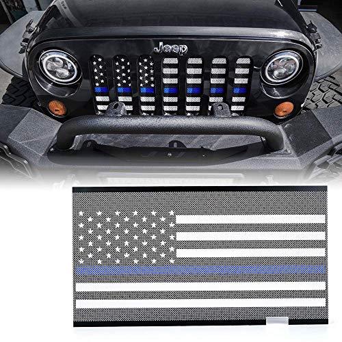 L&U Griglia Anteriore Inserto grigliato Schermo Blu Stripe Bandiera Americana Rete deflettore per 2007-2017 Jeep Wrangler JK