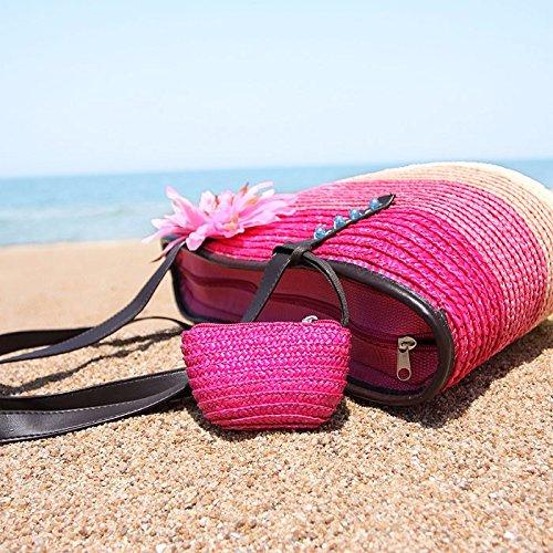 GUMO-Borsa da spiaggia, fiore sacchetto, sacchetto di tessuto, big bag, borsa di paglia, borsa a tracolla e borsa vacanze, borsetta,verde gules