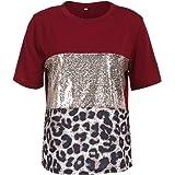 Loalirando Magliette Donna Manica Corta Estive Ragazza T-Shirt con Paillettes Stampa Leopardata Largo Moda Discoteca Casual