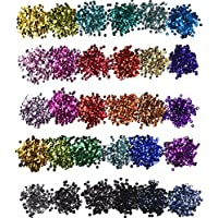 Hestya 30 Farben Lose Pailletten Cup Pailletten Handwerk Schillernde Spangles für DIY Handwerk, 6mm, 150 Gramm