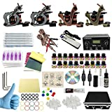WORMHOLE TATTOO Komplettes Tattoo Kit 4 Tattoo Maschine Dual Power Supply 50 Tattoo Nadeln 20 Farbtinten mit Tattoo Kit Fall für Anfänger und Künstler (TK1000046)