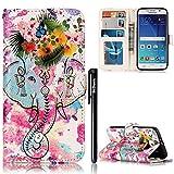BtDuck Hülle für Samsung Galaxy S6, PU Leder Hülle Tasche Flip Wind Einfach Buch Leder Stand Cover für Galaxy S6 Kartenfächer Magnet Etui Wallet Case Cover - Blumen Elefant