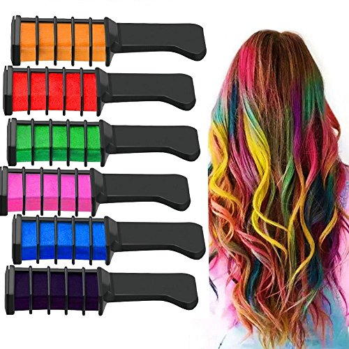 Haar Farben Kreide Kamm Haarfärbemittel langlebige temporäre Schimmer Party und Cosplay DIY (Lila) (Temporäre Lila Haare Farbe)