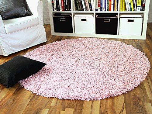 Hochflor Langflor Shaggy Teppich Aloha Rosa Rund - Sofort Lieferbar in 3 Größen