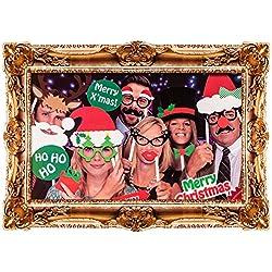 Christmas Novelty Photobooth Creativo Creative Selfie Scheda cornice Props Cappelli Occhiali Mustaches Famiglia Festiva Famiglia Fun Party Set