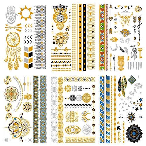 COKOHAPPY Premium Metallic Tattoo - 95+ Tattoo Designs in Gold and Silber - Temporäre Fake Gefälscht Shimmer Schmuck Tattoo - Mandala Eule Diamonds Bracelets Arrows Handgelenk (Gefälschte Gold Ketten Kostüm)