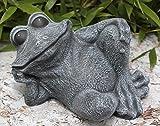 Statue en pierre grenouille assise, gris ardoise, pierre reconstituée