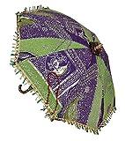 Jaipuri Embroidery Sequins Work Design Decorative Silk Umbrella 24 X 28 Inches