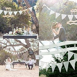 Amazingdeal365 Wimpelkette Hochzeit Vintage Herz Jute Bunting Banner für Deko und Fotografieren (3,2M)