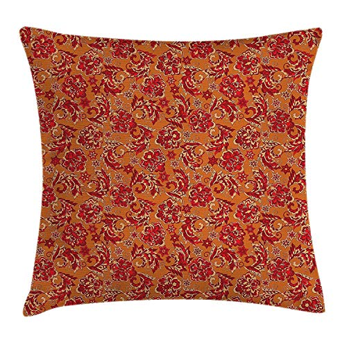(Kissenbezüge Batik Decor Throw Pillow Cushion Cover, Nostalgic Western European Medieval Renaissance Inspired Eastern Boho Pattern, Decorative Square Accent Pillow Case, 18 X 18 inches, Red Orange)