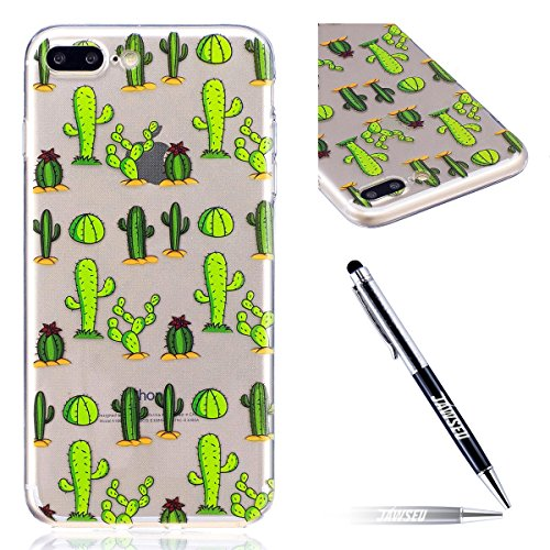 iPhone 7 Plus Custodia Transparente, iPhone 7 Plus Cover Silicone, JAWSEU Super Sottile Crystal Chiaro Custodia per Apple iPhone 7 Plus Bumper Corpeture Case Creativo Disegno Antiurto Anti-scratch Sho Cactus