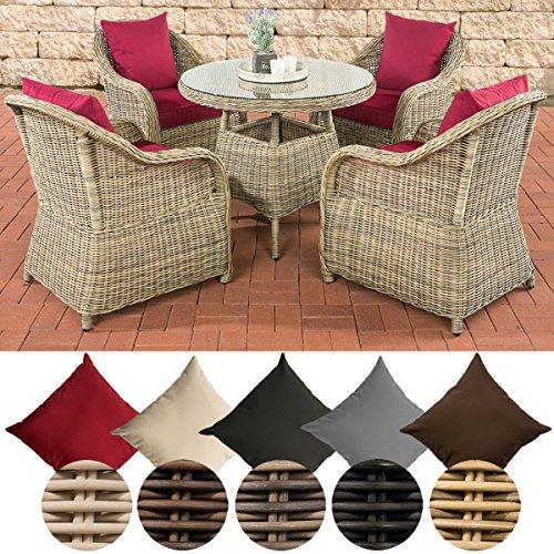 CLP Poly-Rattan Garten-Sitzgruppe FARSUND, 5 mm Rund-Geflecht (4 Stühle + Tisch rund Ø 90 cm, 10 cm Sitzkissen) Rattan Farbe natura, Bezugfarbe: Rubinrot
