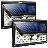 Litom 2 packs Luces Lamparas Focus Solares 24 LEDs 526 Lúmenes con Sensor de Movimiento 3 modos de trabajo, Iluminación exterior para jardin, patio, garage, pasillo(contiene 2 unidades)