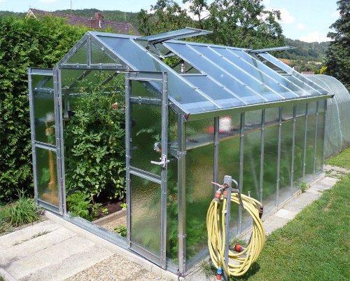 floristikvergleich.de Gewächshaus mit Glas unschlagbar stabil 2,5 x 4,06 m, Konstruktion Metall verzinkt