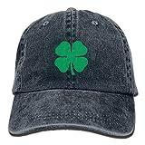 Lucky 4-Leaf Clover Unisex Denim Baseball Cap Adjustable Strap Low Profile Plain Hats Outdoor Casquette Snapback Hats