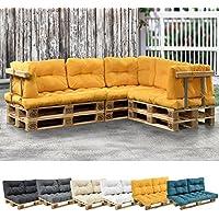[en.casa] 1x cojín de asiento para sofá- palé / para europalé [mostaza] cojín In/Outdoor - cojín acolchado - válido para exteriores