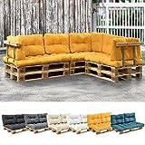 [en.casa] Euro Paletten-Sofa - DIY Möbel - Indoor Sofa mit Paletten-Kissen/Ideal für Wohnzimmer - Wintergarten (1 x Sitzauflage und 2 x Rückenkissen) Senffarben