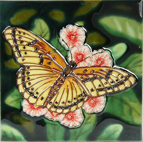 yh-arts-yellow-butterfly-ceramic-tiles-multi-colour-6-x-6-inch