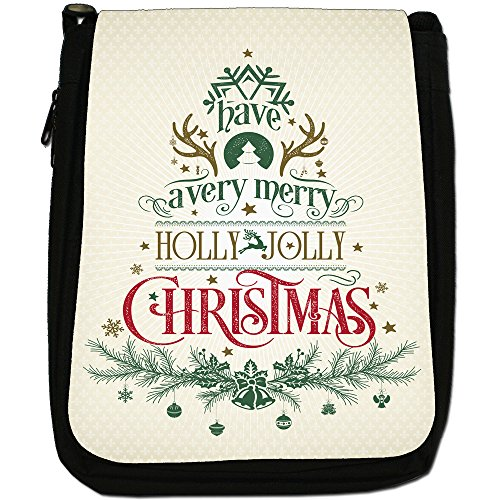 Elegante Vintage auguri di Natale Medium Nero Borsa In Tela, taglia M Have A Merry Holly Christmas
