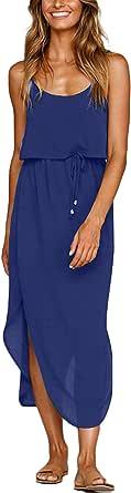 Sommerkleider für Frauen 2021 Women's Summer Casual Dresses Sleeveless Boho Beach Dress