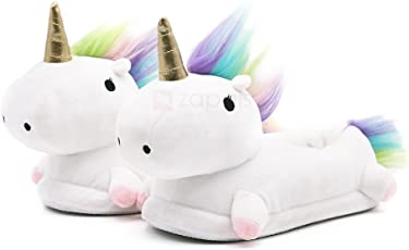 CARRY TRIP Unicorn Boy's and Girl's White Warm Indoor Cute Winter Slippers (UK3)
