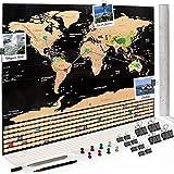 Dreamer & Joy Co. XXL Weltkarte zum Freirubbeln - mit Zubehör: Fotos anheften, Pläne einzeichnen - Rubbelkarte Rubbel Weltkarte