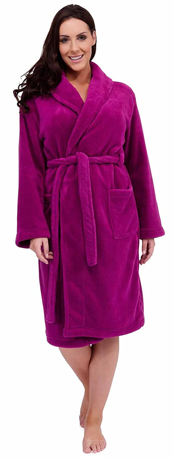 Ladies Coral Fleece Dressing Gown Bath Robe Supersoft Lounge Cosy ...