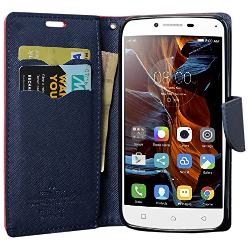 DMG Premium Drop Protection Wallet Case Flip Cover for Lenovo Vibe K5 / Vibe K5 Plus (Red)