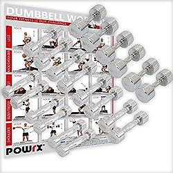 POWRX Mancuernas CROMADAS 40 kg Set (2 x 20 kg)