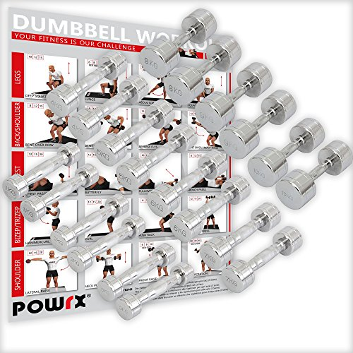 Powrx manubri pesi cromati 12 kg set (2 x 6 kg) + pdf workout (argento)