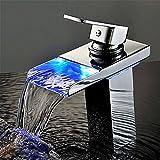 YSRBath Modernos Grifos del Fregadero del Cuarto de baño Cascada de Control LED de Temperatura hidráulico Cocina Mezclador Grifos de Lavabo