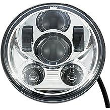 "FuriAuto 5-3/4"" 5.75"" redondo Súper Brillante LED impermeable Luz Lámpara Foco Faro de Trabajo luz de Lectura Bombillas proyector LED Daymaker Faro para Harley Davidson (Plata)"