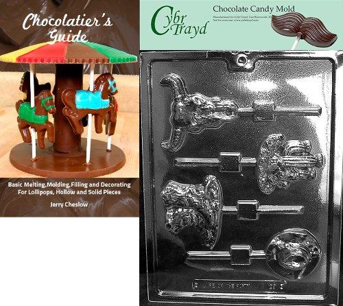 Cybrtrayd Western Thème Pops enfants Moule à chocolat Candy avec Chocolatier Guide d'instructions livre manuel
