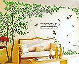 Adesivo da parete, verde con foglie e uccelli in volo, farfalle, decorazione per casa in vinile, DIY, rimovibile, carta da parati decorativa per la camera o la cameretta dei bambini, verde, aves
