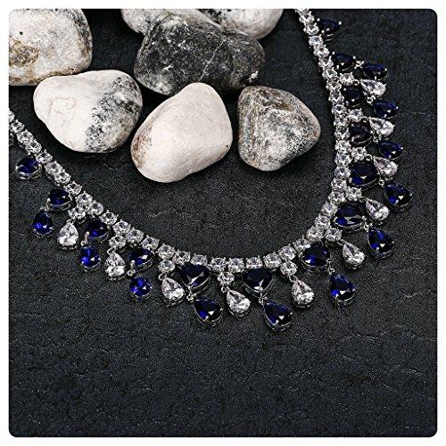 Aooaz Mesdames Argent Collier Argenté Couleur Tassel Zircone Bow Remorque Collier Cluster Cristal Remorque Chaîne de Mariage Blau