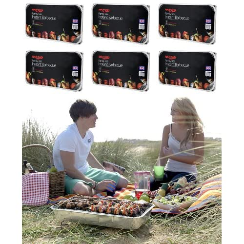 61CU%2B1bYPHL. SS500  - Holland Plastics Original Brand 6 X FAMILY SIZE INSTANT DISPOSABLE BBQ- EACH PACK COOKS FOR TEN!