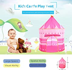 KARP Play House - Indoor & Outdoor Princess Castle Play Tent - Foldable Tent with Carry Bag for Kids - Pink Color