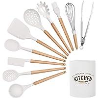 CORAFEI 10 PCS Ustensiles de Cuisine en Silicone avec Pot de Rangement, spatule cuillère de Cuisine