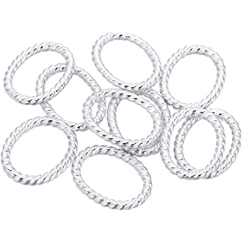 20 Silver Plated Solid Twist 16mm Connector Rings