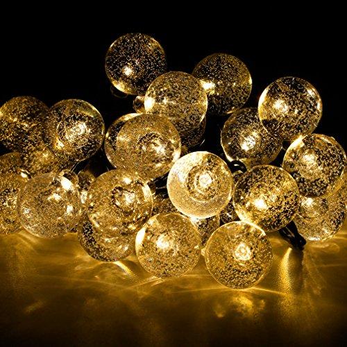 LED Solar Lichterkette, Homgrace 30er LED Outdoor Lichter Solar Beleuchtung Kugel für Außen Party, Weihnachten, Garten, Baum, Terrasse, Haus Dekoration, Fest Deko - Warmweiß