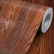 """Grano de madera papel de contacto estante maletero de vinilo autoadhesivo cubierta para encimera de cocina gabinetes cajón muebles para pared (23.4""""wx117"""" L, palisandro)"""