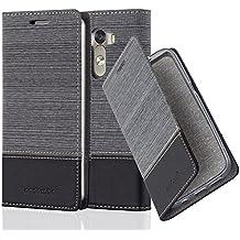 Cadorabo - Funda Estilo Book para LG G3 de Diseño Tela / Cuero Arificial con Tarjetero, Función de Suporte y Cierre Magnético Invisible - Etui Case Cover Carcasa Caja Protección en GRIS-NEGRO