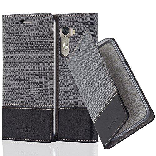 Cadorabo Hülle für LG G3 - Hülle in GRAU SCHWARZ – Handyhülle mit Standfunktion und Kartenfach im Stoff Design - Case Cover Schutzhülle Etui Tasche Book