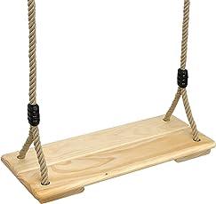Pellor Erwachsene Kinder Garten Kiefernholz Schaukelsitz Brettschaukel Hängesitz Swing Seat Schaukelstuhl Seilverstellbar Bis 100kg