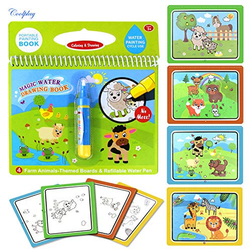VIDOO Magische Wasser Malerei Graffiti Buch Wiederverwendbare Farbe Tier Grafiken Kognitive Bildung Papier Kunst Zeichnung Spielzeug-7 (Spielzeug Bücher, Papier Und Magische)