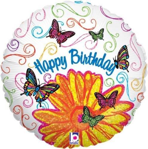 Betallic Happy Birthday Pop Art Fleur de papillon 45,7 cm holographique Ballon en aluminium