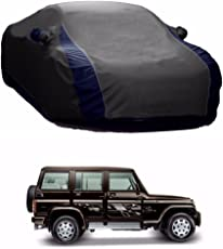 MotRoX Lively Water Resistant Car Body Cover for Mahindra Bolero (Grey & Blue - V Shape)