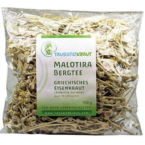 Griechischer Bergtee aus Wildsammlung auf Kreta (100 g) [ Sideritis syriaca / Malotira Eisenkraut ] Tausendkraut (Blühenden Tee-tassen)