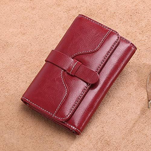 Yajiemei Trifold Multi Card Holder Wallet aus weichem Leder, Elegante Clutch Lange Geldbörse für Damen (Color : Wine red)